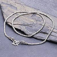 Sterling silver chain necklace, 'Clever Dragon' - Artisan Made Sterling Silver Borobudur Chain Dragon Necklace