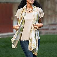 Silk shawl, 'Peaceful Leaves' - Eco-Printed 100% Silk Shawl Green and Brown Leaf Motif