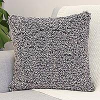 Cotton cushion cover, 'Popcorn in Grey' - Eco-Friendly Cotton Cushion Cover from Thailand