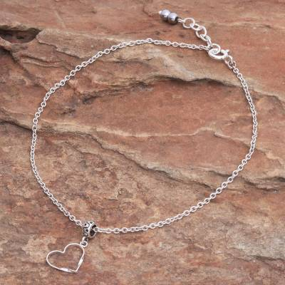 Sterling silver charm anklet, 'Your Love' - Thai Handmade Sterling Silver and Hematite Charm Anklet