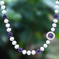 Amethyst and cultured pearl beaded necklace, 'Saturn's Ring' - Cultured Pearl and Amethyst Bead Pendant Necklace