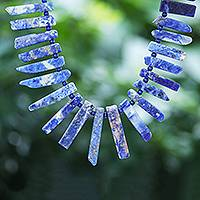 Sodalite beaded necklace, 'Sliver of Sea' - Sodalite Sliver and Lapis Lazuli Bead Necklace
