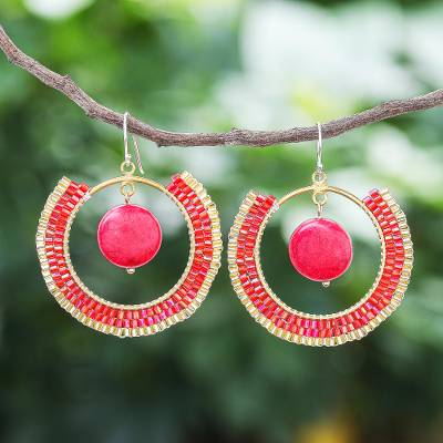 Howlite dangle earrings, 'Universal Sun in Red' - Howlite and Glass Beaded Circle Earrings