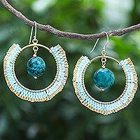 Serpentine dangle earrings, 'Universal Sun in Blue' - Thai Handcrafted Serpentine Dangle Earrings