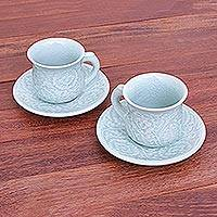 Celadon ceramic cup and saucer set, 'Tea Flowers' (pair) - Celadon Ceramic Cup and Saucer Set from Thailand (Pair)