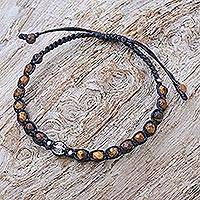 Tiger's eye beaded cord bracelet, 'Eye of the Tiger' - Hand Crafted Tiger's Eye and Silver Beaded Cord Bracelet