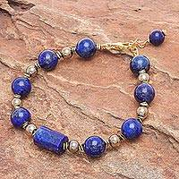 Gold-plated lapis lazuli and hematite pendant bracelet, 'Golden Orbit' - Hand Threaded Lapis Lazuli and Hematite Pendant Bracelet