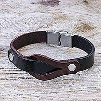 Leather wristband bracelet, 'Unwavering in Dark Brown' - Hand Made Leather and Stainless Steel Wristband Bracelet