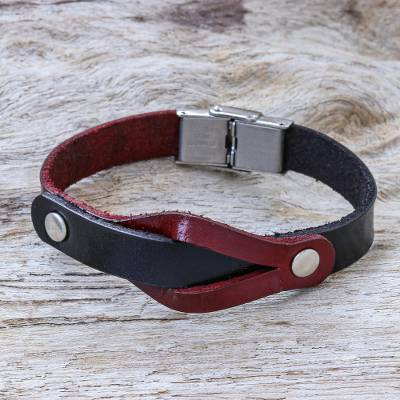 Leather wristband bracelet, 'Unwavering in Red' - Leather and Stainless Steel Wristband Bracelet from Thailand