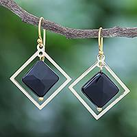 Gold-plated onyx dangle earrings, 'Dark Forces' - Handmade Gold-Plated Onyx Dangle Earrings