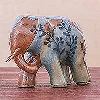 Celadon ceramic sculpture, 'Jungle Leaves' - Hand Crafted Celadon Ceramic Elephant Sculpture