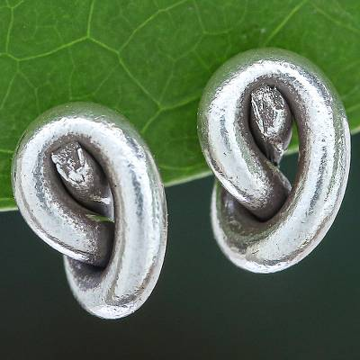 Silver stud earrings, 'Knot Twist' - Handmade Karen Silver Stud Earrings