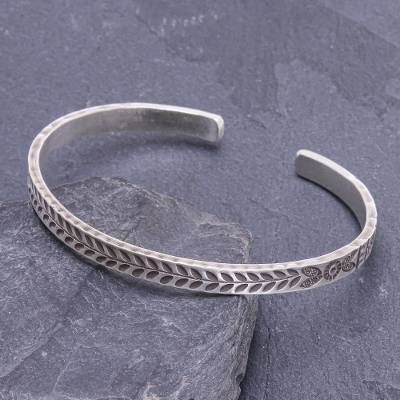 Sterling silver cuff bracelet, 'Bright Moments' - Handmade Sterling Silver Floral Cuff Bracelet