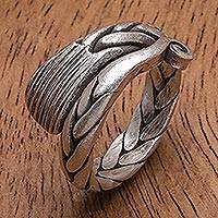 Silver band ring, 'Forever Young' - Oxidized Finish Karen Silver Band Ring from Thailand