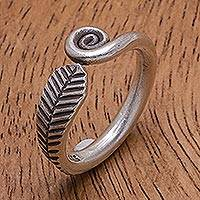 Sterling silver band ring, 'Different Drum' - Hand Made Sterling Silver Spiral Band Ring