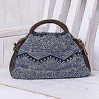 Leather-accented cotton hmong batik handbag, 'Modern Hmong' - Block-Printed Leather and Cotton Batik Handbag