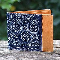Cotton and leather batik wallet, 'Sandy Shores in Tan' - Handmade Cotton and Leather Batik Wallet from Thailand