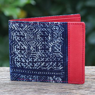 Cotton batik and leather wallet, Sandy Shores in Red