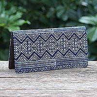 Cotton batik and leather wallet, 'Byzantine' - Artisan Crafted Navy Cotton Long Wallet from Thailand