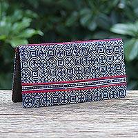Cotton and leather batik wallet, 'Red Line' - Hand Crafted Hmong Geometric Cotton and Leather Batik Wallet