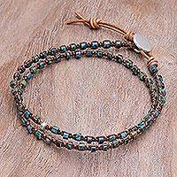 Macrame wrap bracelet, 'Peace Like a River' - Hand Knotted Macrame Leather Wrap Bracelet