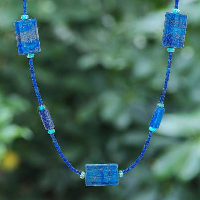 Lapis lazuli and jasper beaded necklace, 'Midnight Chill' - Lapis Lazuli and Jasper Beaded Necklace from Thailand