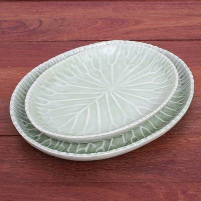 Celadon ceramic plates, 'Cool Lotus' (pair) - Handmade Celadon Ceramic Lotus Leaf Plates (Pair)