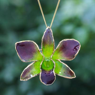 Gold-accented orchid petal pendant necklace, 'Orchid Magic in Green' - Gold-Plated Green Orchid Petal Pendant Necklace and Brooch