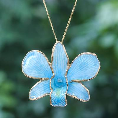 Gold-accented orchid petal pendant necklace, 'Orchid Magic in Light Blue' - Gold-Plated Blue Orchid Petal Pendant Necklace and Brooch