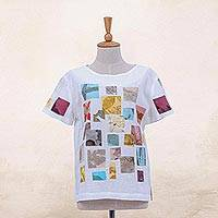 Hand-printed cotton t-shirt, 'Botanical Patches' - Eco-Friendly Hand-Printed Cotton T-Shirt
