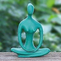 Brass sculpture, 'Morning Meditation in Green' - Hand Painted Brass Mediation Sculpture from Thailand