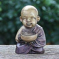 Brass sculpture, 'Monk's Blessing in Brown' - Hand Painted Brass Monk Sculpture from Thailand