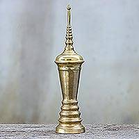 Brass urn, 'Remembrance' - Handmade Antique Finish Brass Urn from Thailand