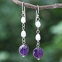 Amethyst and cultured pearl dangle earrings, 'Purple Night' - Handmade Amethyst and Cultured Pearl Dangle Earrings