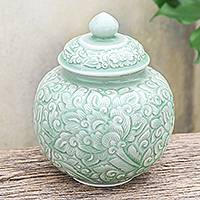 Celadon ceramic jar, 'Flower Fairy' - Hand Crafted Celadon Ceramic Floral-Themed Jar