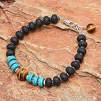 Hematite and tiger's eye beaded bracelet, 'Nature Lover' - Hand Crafted Hematite and Tiger's Eye Beaded Bracelet