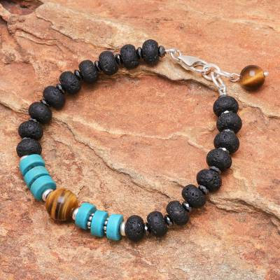 Hematite and tigers eye beaded bracelet, Nature Lover