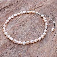 Cultured pearl choker necklace, 'Mermaid Gem in Peach' - Cultured Freshwater Pearl and Sterling Silver Choker
