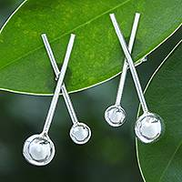 Sterling silver button earrings, 'Lollipop' - Artisan Crafted Sterling Silver Button Earrings