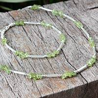 Peridot jewelry set, 'Elegance' - Silver and Peridot Necklace and Bracelet Jewelry Set