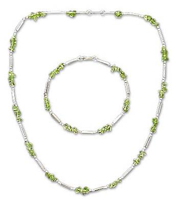 Silver and Peridot Necklace and Bracelet Jewelry Set