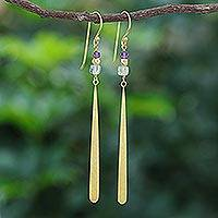 Gold-plated prehnite and amethyst dangle earrings, 'Golden Dewdrop' - Gold-Plated Prehnite and Amethyst Dangle Earrings