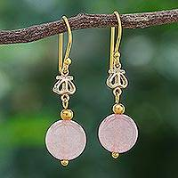 Gold-plated rose quartz dangle earrings, 'Sweet Throne' - Gold-Plated Sterling Silver and Rose Quartz Dangle Earrings