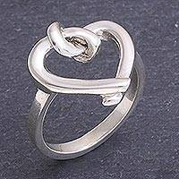 Sterling silver cocktail ring, 'Knotted Heart' - Sterling Silver Knotted Heart Ring