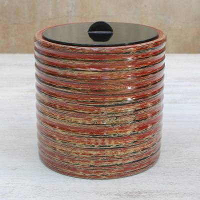 Lacquered wood jar, 'Compression' - Lacquered wood jar