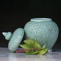 Celadon ceramic jar,
