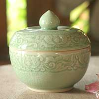 Celadon ceramic jar,