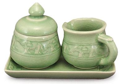 Hand Made Celadon Ceramic Sugar Bowl and Creamer Set ...