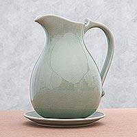 Celadon ceramic pitcher and plate Classicism Thailand