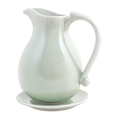 Celadon ceramic pitcher and plate